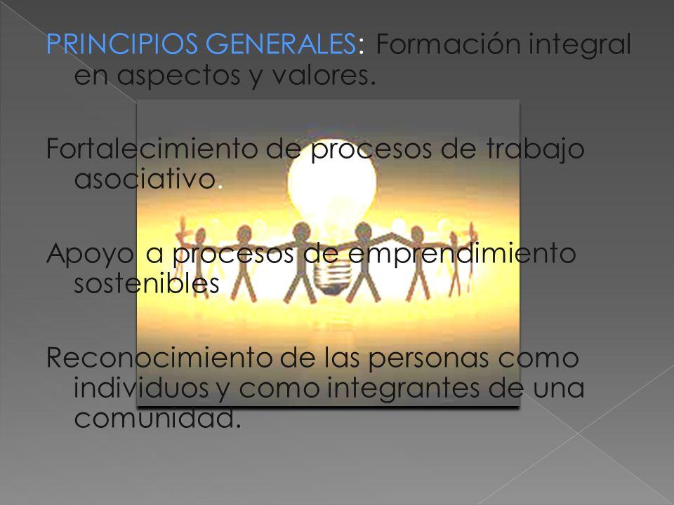 PRINCIPIOS GENERALES: Formación integral en aspectos y valores