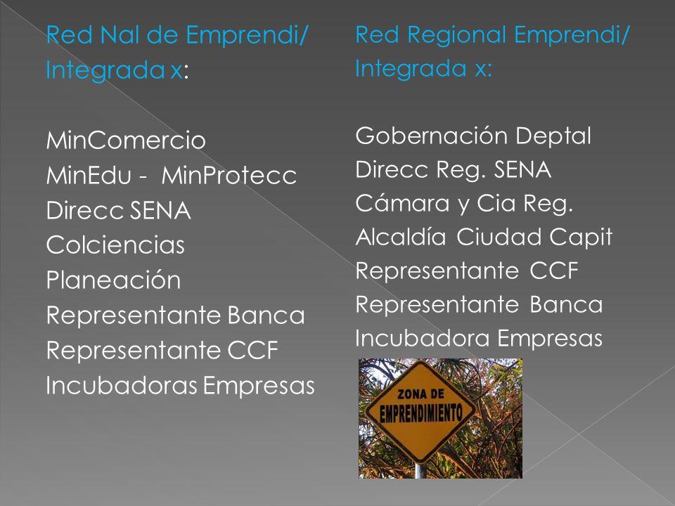 Red Nal de Emprendi/ Integrada x: MinComercio MinEdu - MinProtecc Direcc SENA Colciencias Planeación Representante Banca Representante CCF Incubadoras Empresas