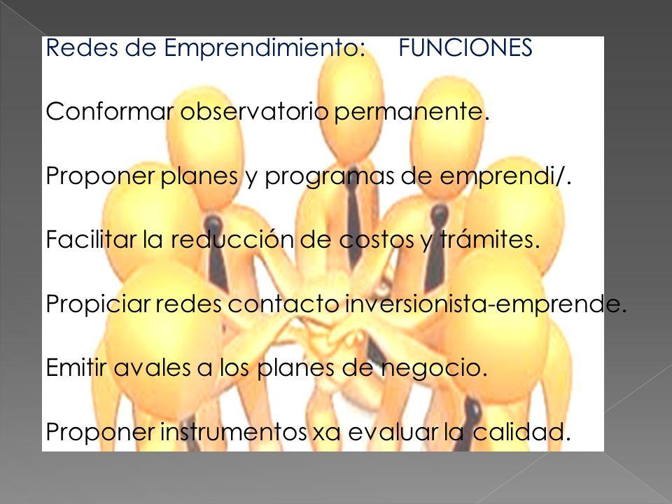 Redes de Emprendimiento: FUNCIONES Conformar observatorio permanente