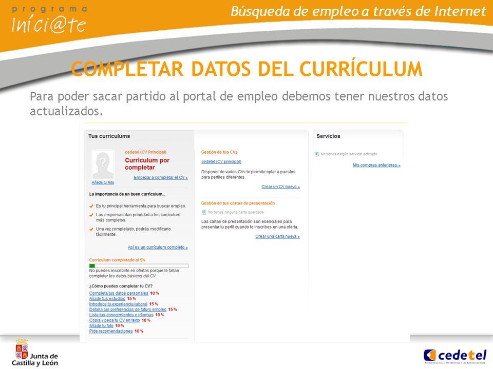 COMPLETAR DATOS DEL CURRÍCULUM