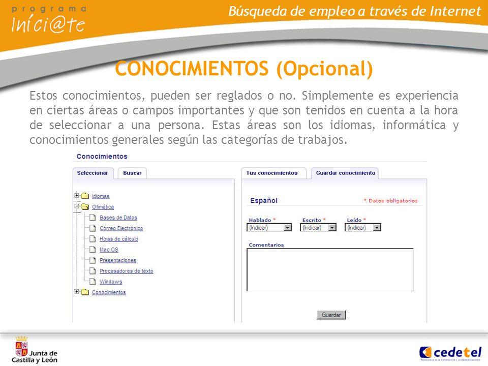 CONOCIMIENTOS (Opcional)