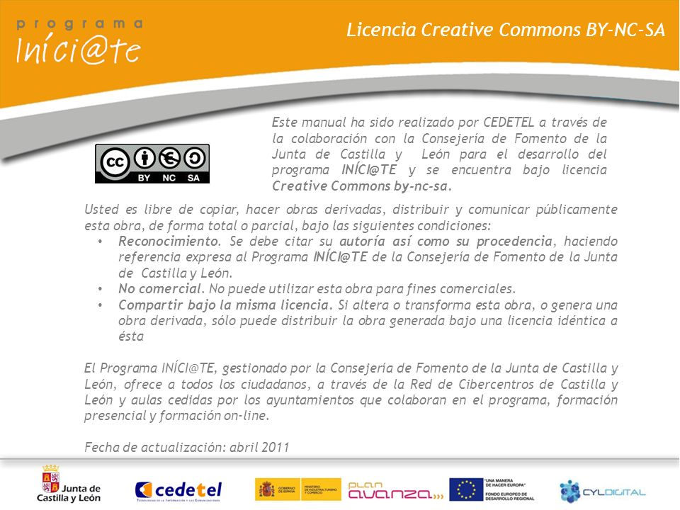 Licencia Creative Commons BY-NC-SA