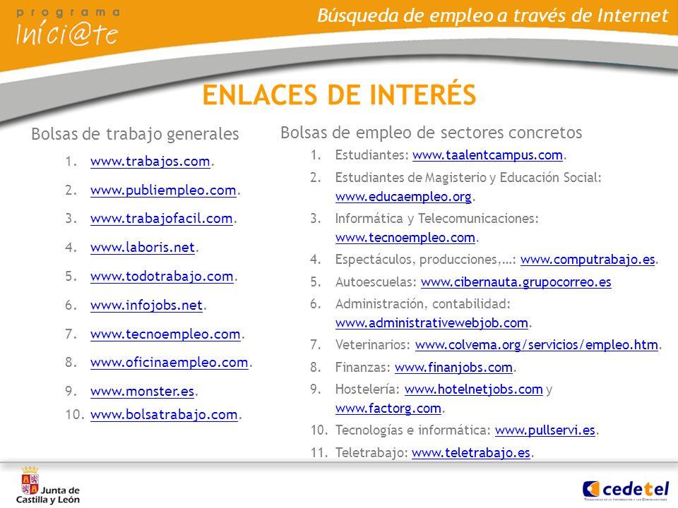 ENLACES DE INTERÉS Bolsas de trabajo generales