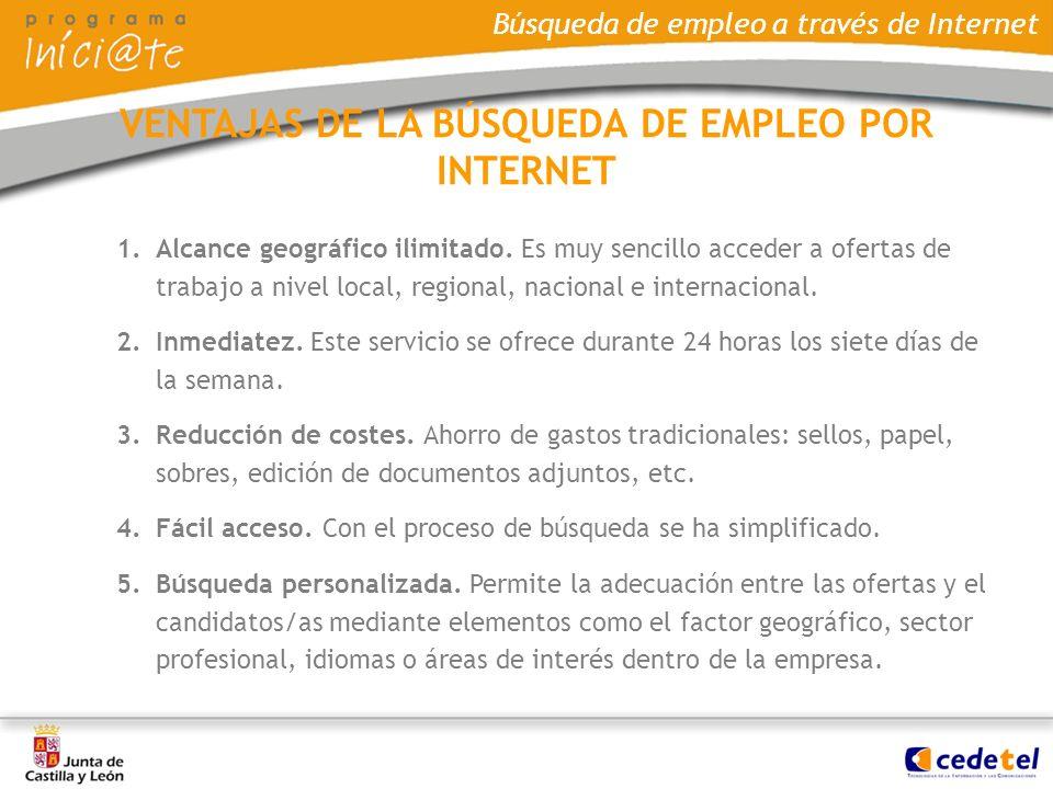 VENTAJAS DE LA BÚSQUEDA DE EMPLEO POR INTERNET