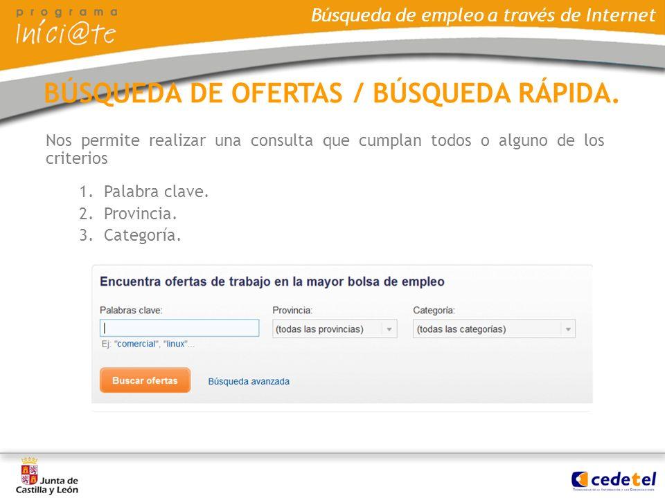 BÚSQUEDA DE OFERTAS / BÚSQUEDA RÁPIDA.