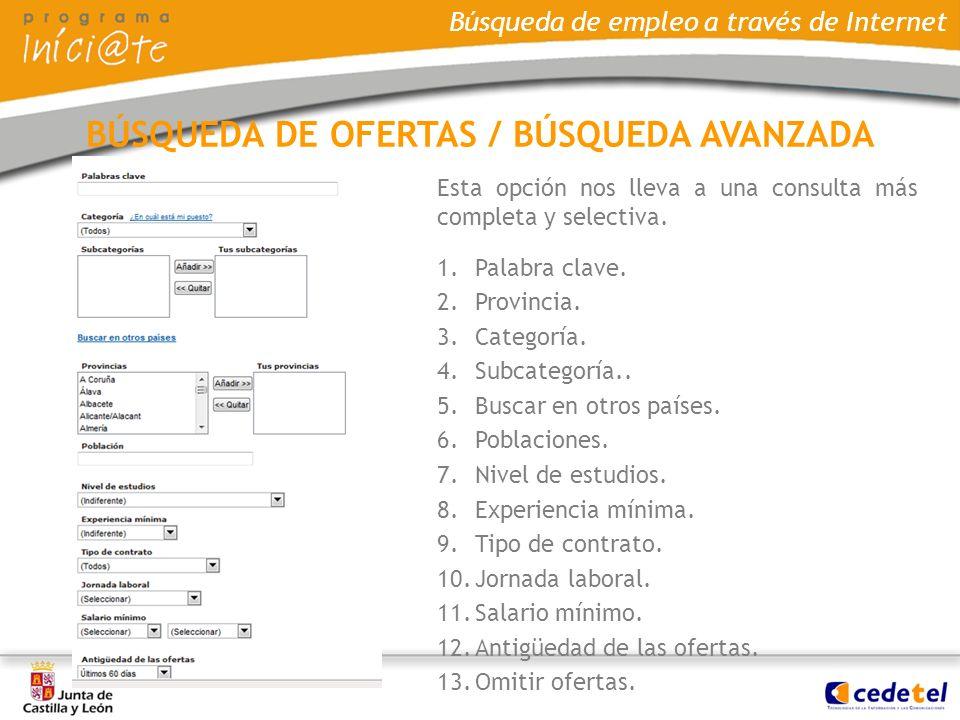 BÚSQUEDA DE OFERTAS / BÚSQUEDA AVANZADA