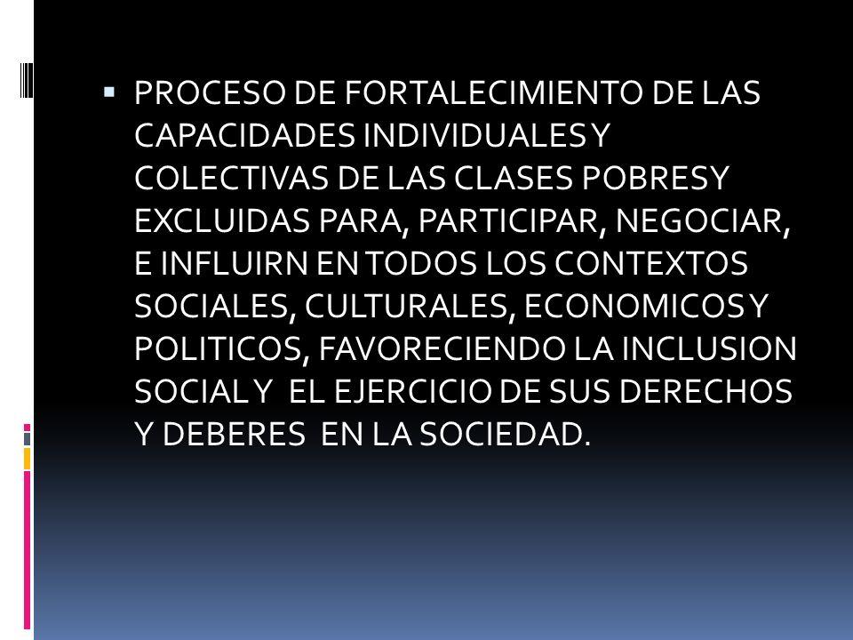 PROCESO DE FORTALECIMIENTO DE LAS CAPACIDADES INDIVIDUALES Y COLECTIVAS DE LAS CLASES POBRESY EXCLUIDAS PARA, PARTICIPAR, NEGOCIAR, E INFLUIRN EN TODOS LOS CONTEXTOS SOCIALES, CULTURALES, ECONOMICOS Y POLITICOS, FAVORECIENDO LA INCLUSION SOCIAL Y EL EJERCICIO DE SUS DERECHOS Y DEBERES EN LA SOCIEDAD.