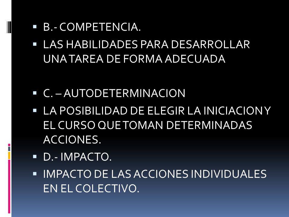 B.- COMPETENCIA. LAS HABILIDADES PARA DESARROLLAR UNA TAREA DE FORMA ADECUADA. C. – AUTODETERMINACION.