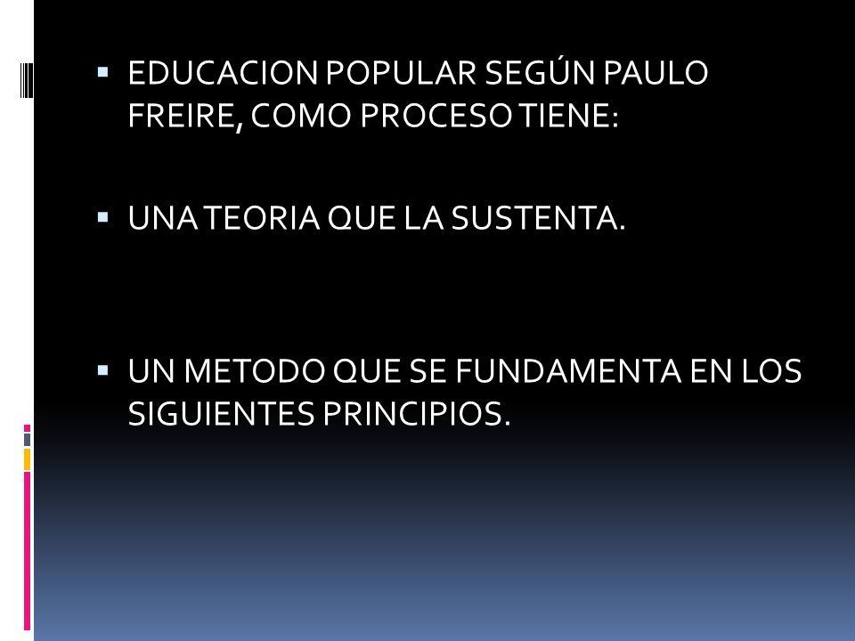 EDUCACION POPULAR SEGÚN PAULO FREIRE, COMO PROCESO TIENE: