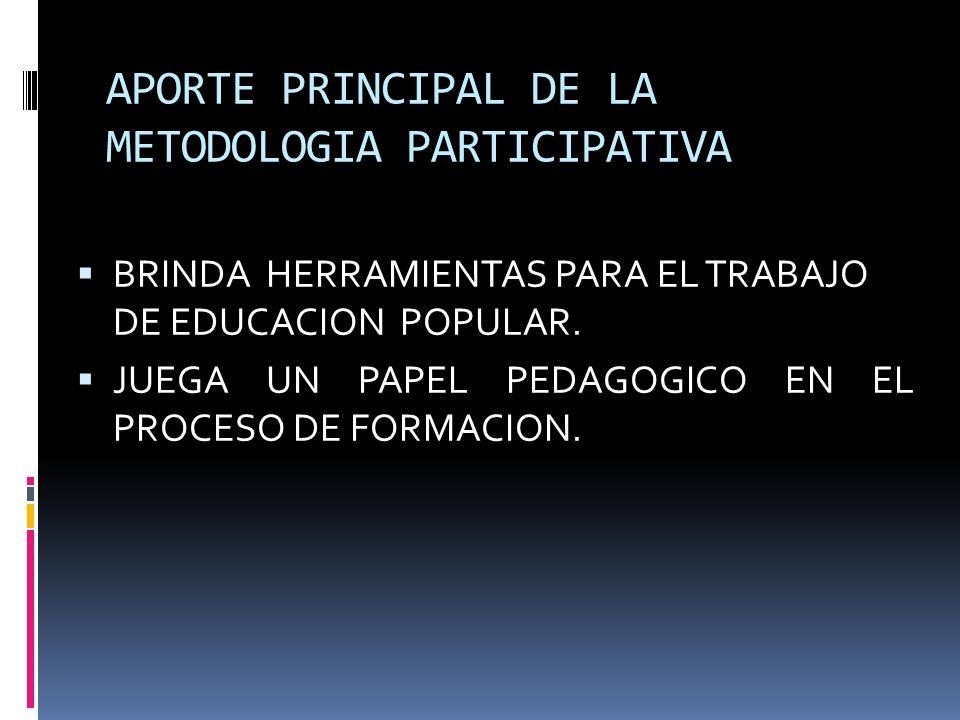 APORTE PRINCIPAL DE LA METODOLOGIA PARTICIPATIVA