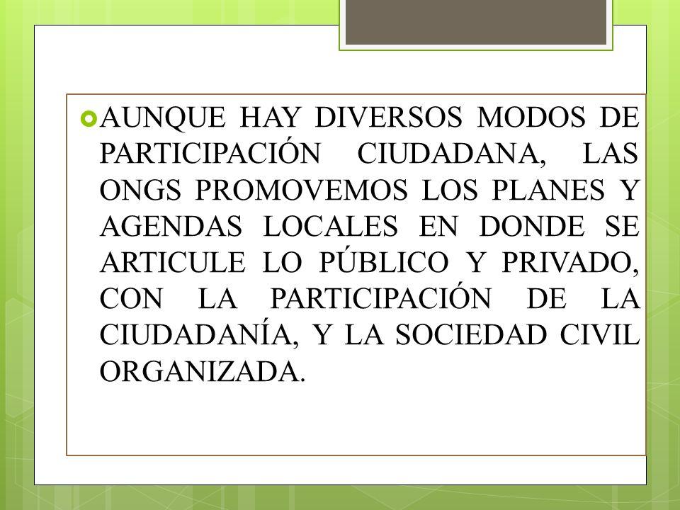 AUNQUE HAY DIVERSOS MODOS DE PARTICIPACIÓN CIUDADANA, LAS ONGS PROMOVEMOS LOS PLANES Y AGENDAS LOCALES EN DONDE SE ARTICULE LO PÚBLICO Y PRIVADO, CON LA PARTICIPACIÓN DE LA CIUDADANÍA, Y LA SOCIEDAD CIVIL ORGANIZADA.
