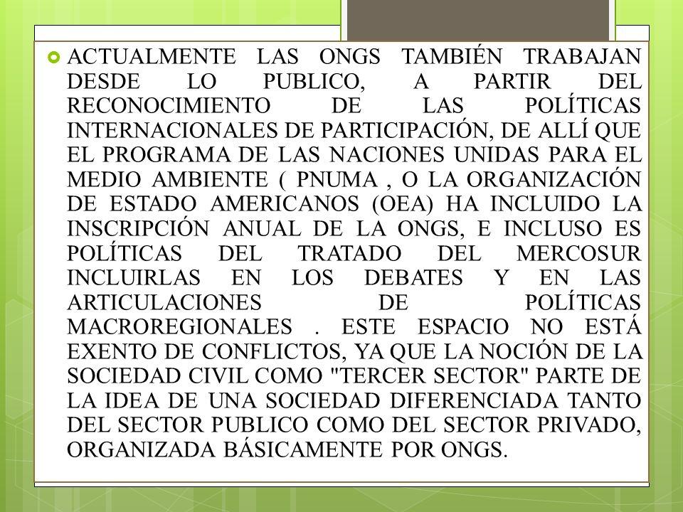 ACTUALMENTE LAS ONGS TAMBIÉN TRABAJAN DESDE LO PUBLICO, A PARTIR DEL RECONOCIMIENTO DE LAS POLÍTICAS INTERNACIONALES DE PARTICIPACIÓN, DE ALLÍ QUE EL PROGRAMA DE LAS NACIONES UNIDAS PARA EL MEDIO AMBIENTE ( PNUMA , O LA ORGANIZACIÓN DE ESTADO AMERICANOS (OEA) HA INCLUIDO LA INSCRIPCIÓN ANUAL DE LA ONGS, E INCLUSO ES POLÍTICAS DEL TRATADO DEL MERCOSUR INCLUIRLAS EN LOS DEBATES Y EN LAS ARTICULACIONES DE POLÍTICAS MACROREGIONALES .