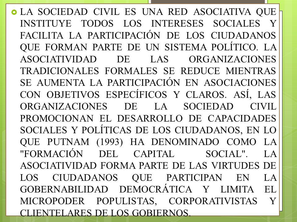LA SOCIEDAD CIVIL ES UNA RED ASOCIATIVA QUE INSTITUYE TODOS LOS INTERESES SOCIALES Y FACILITA LA PARTICIPACIÓN DE LOS CIUDADANOS QUE FORMAN PARTE DE UN SISTEMA POLÍTICO.