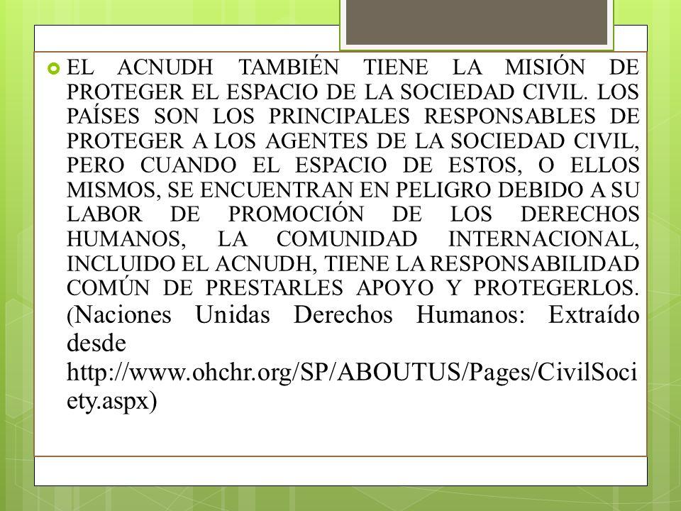 EL ACNUDH TAMBIÉN TIENE LA MISIÓN DE PROTEGER EL ESPACIO DE LA SOCIEDAD CIVIL.