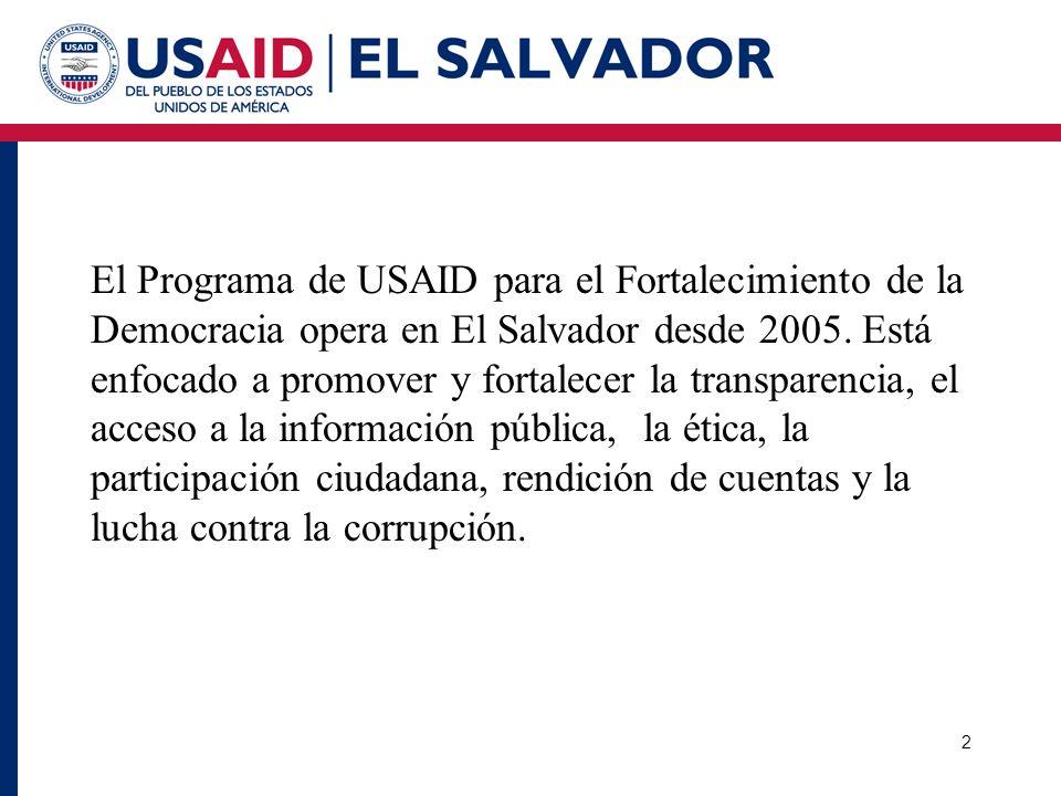 El Programa de USAID para el Fortalecimiento de la Democracia opera en El Salvador desde 2005.