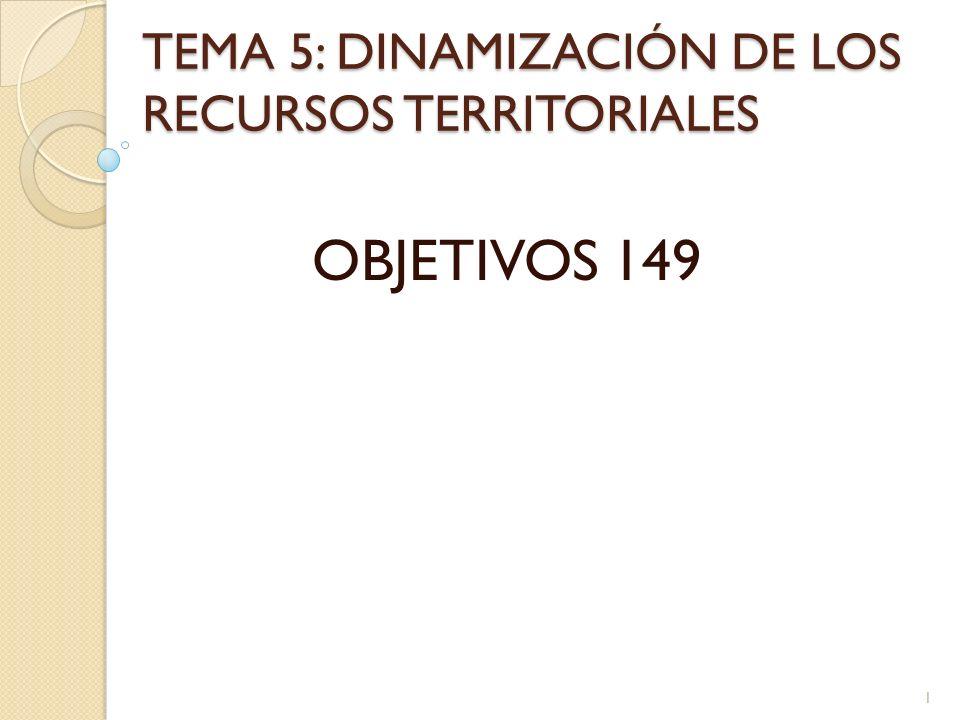 TEMA 5: DINAMIZACIÓN DE LOS RECURSOS TERRITORIALES