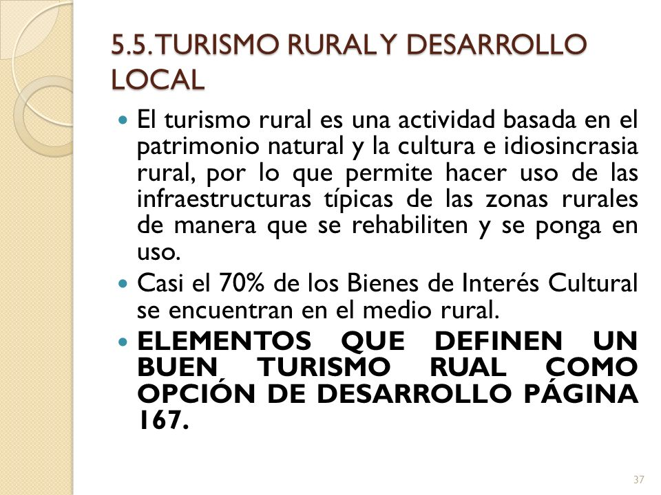 5.5. TURISMO RURAL Y DESARROLLO LOCAL