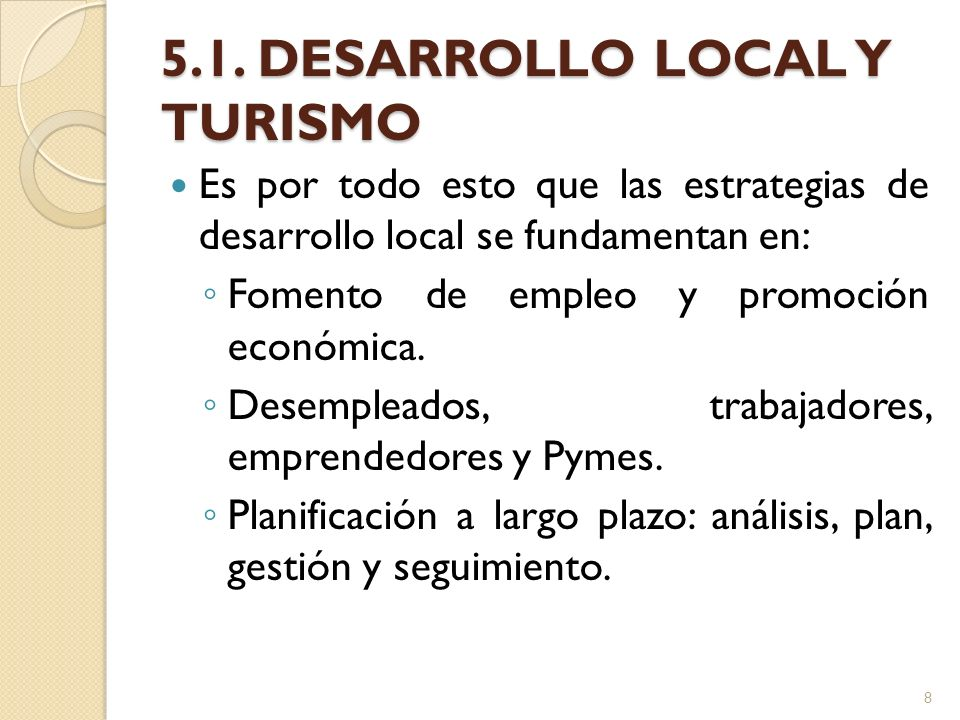 5.1. DESARROLLO LOCAL Y TURISMO