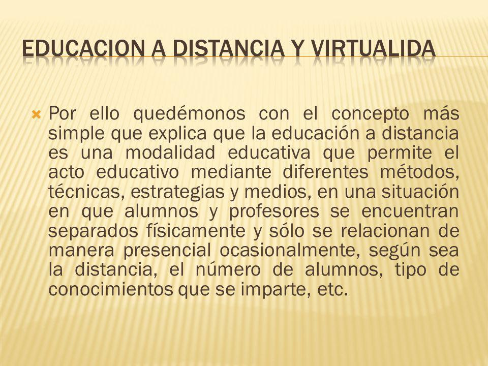EDUCACION A DISTANCIA Y VIRTUALIDA