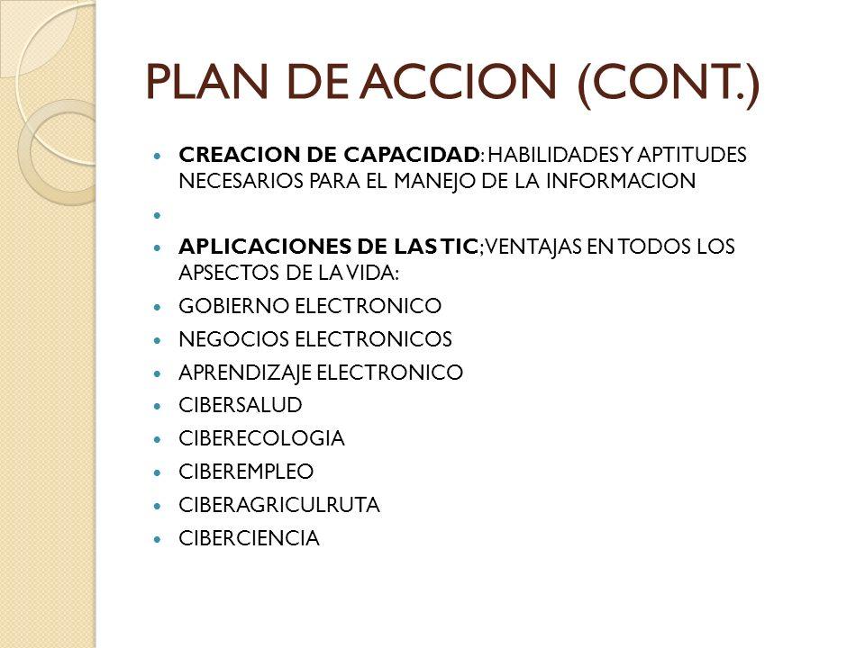 PLAN DE ACCION (CONT.) CREACION DE CAPACIDAD: HABILIDADES Y APTITUDES NECESARIOS PARA EL MANEJO DE LA INFORMACION.