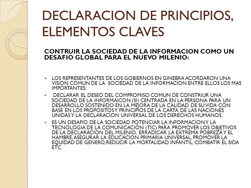 DECLARACION DE PRINCIPIOS, ELEMENTOS CLAVES