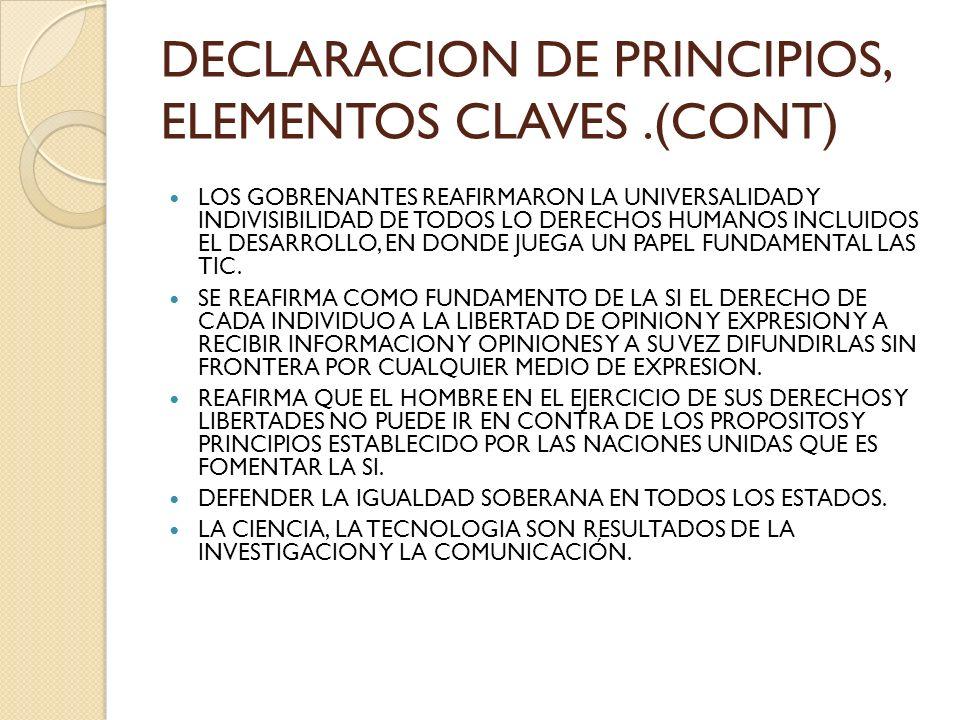DECLARACION DE PRINCIPIOS, ELEMENTOS CLAVES .(CONT)