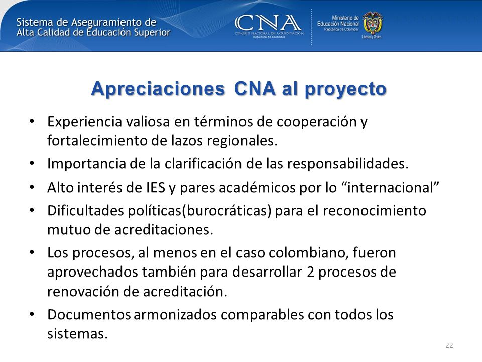 Apreciaciones CNA al proyecto