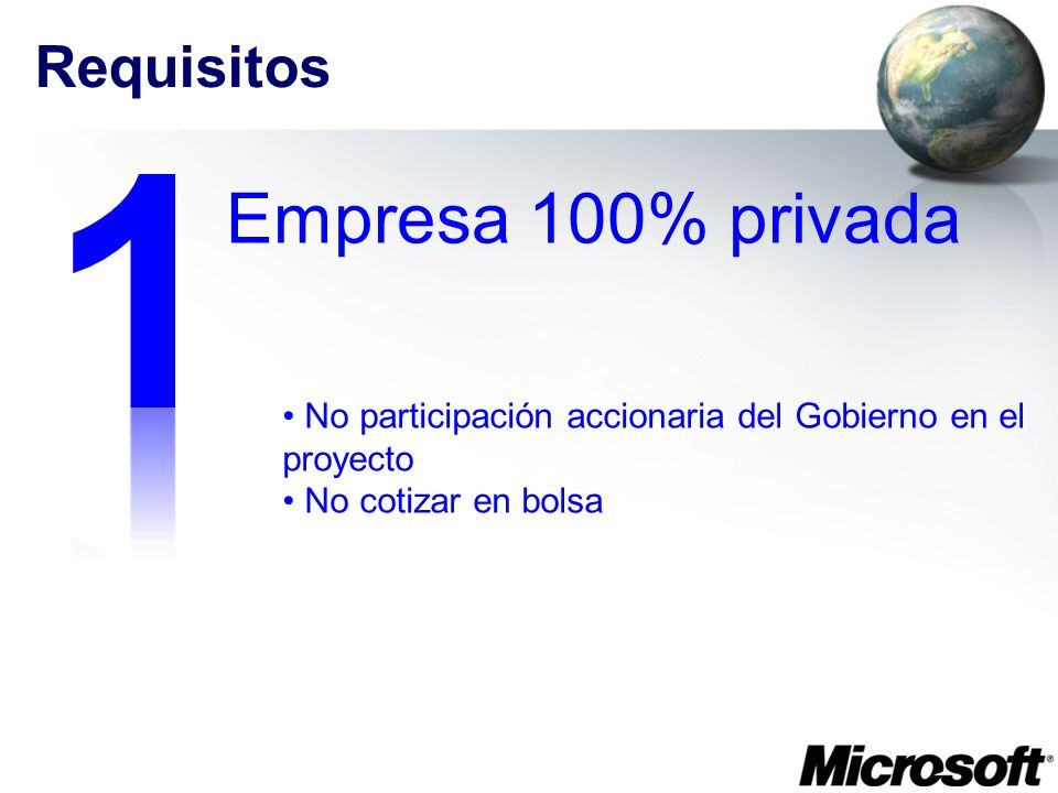 1 Empresa 100% privada Requisitos