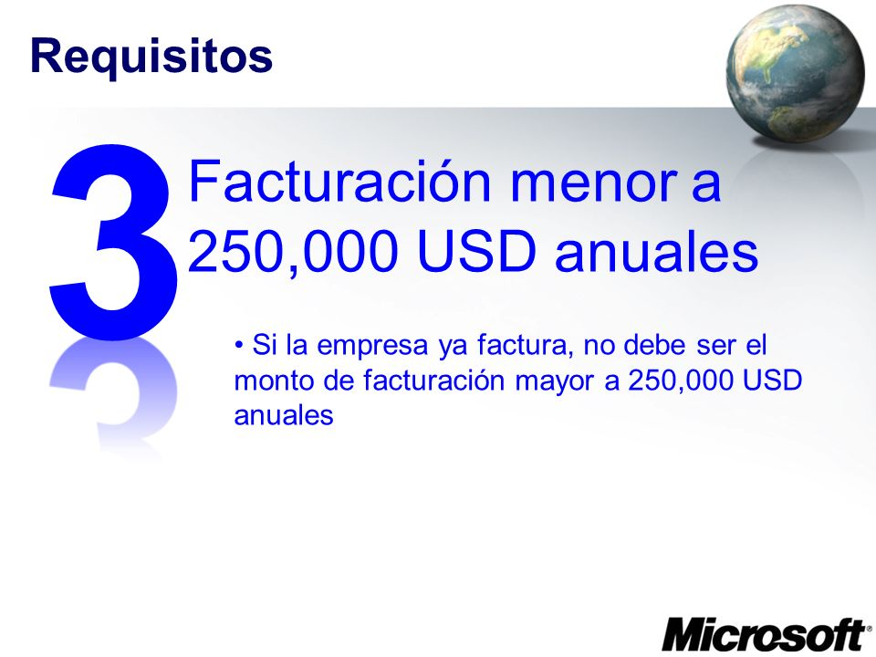 3 Facturación menor a 250,000 USD anuales Requisitos
