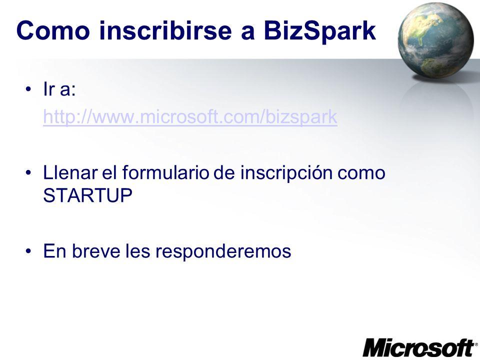 Como inscribirse a BizSpark