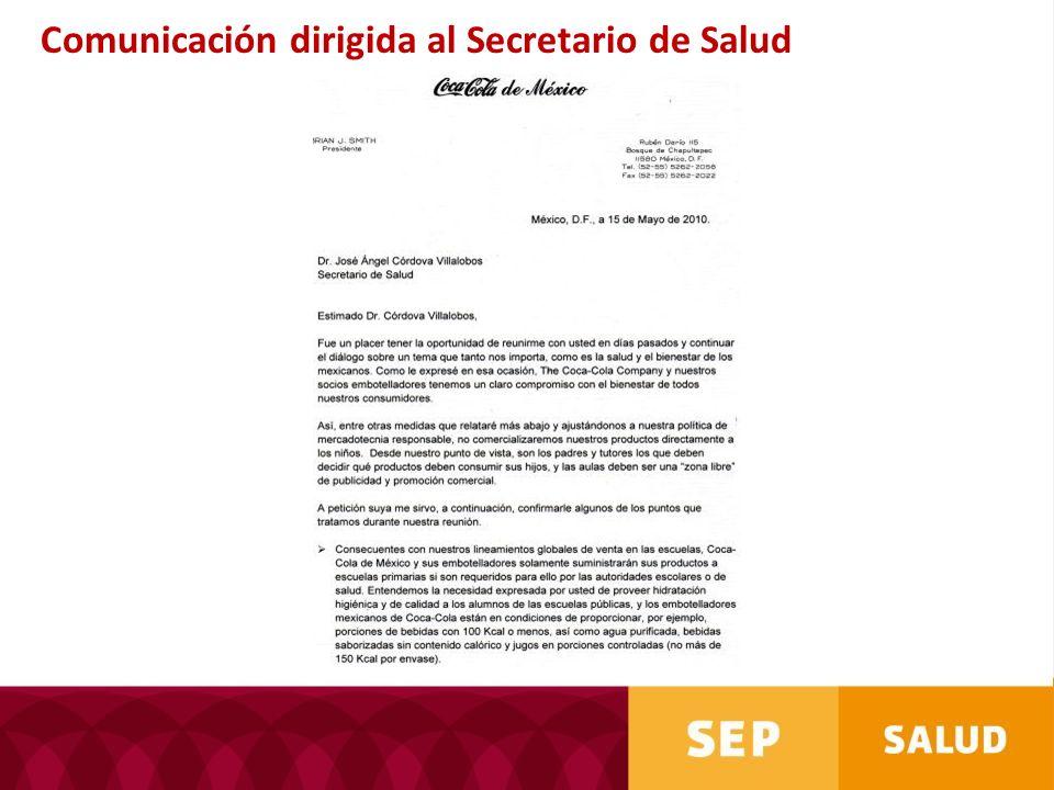 Comunicación dirigida al Secretario de Salud