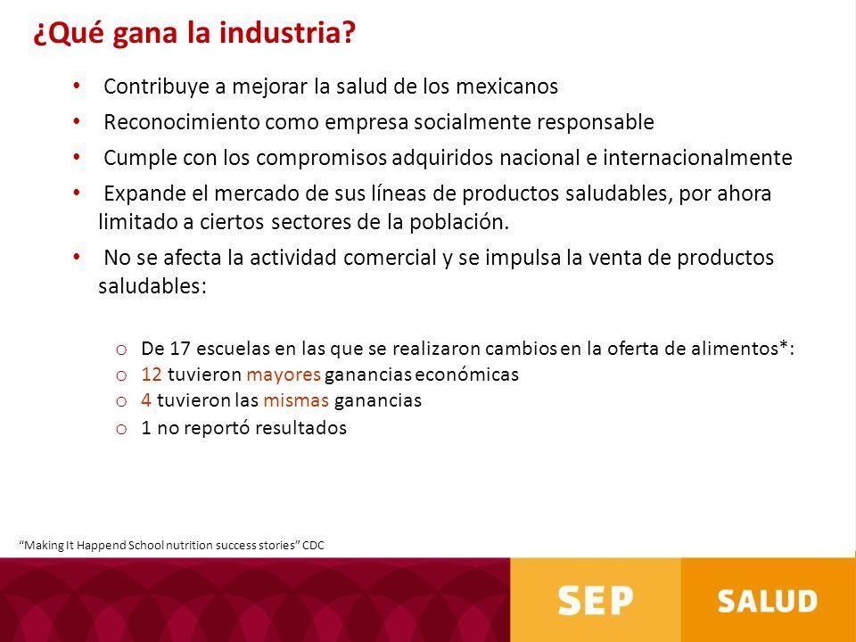 ¿Qué gana la industria Contribuye a mejorar la salud de los mexicanos