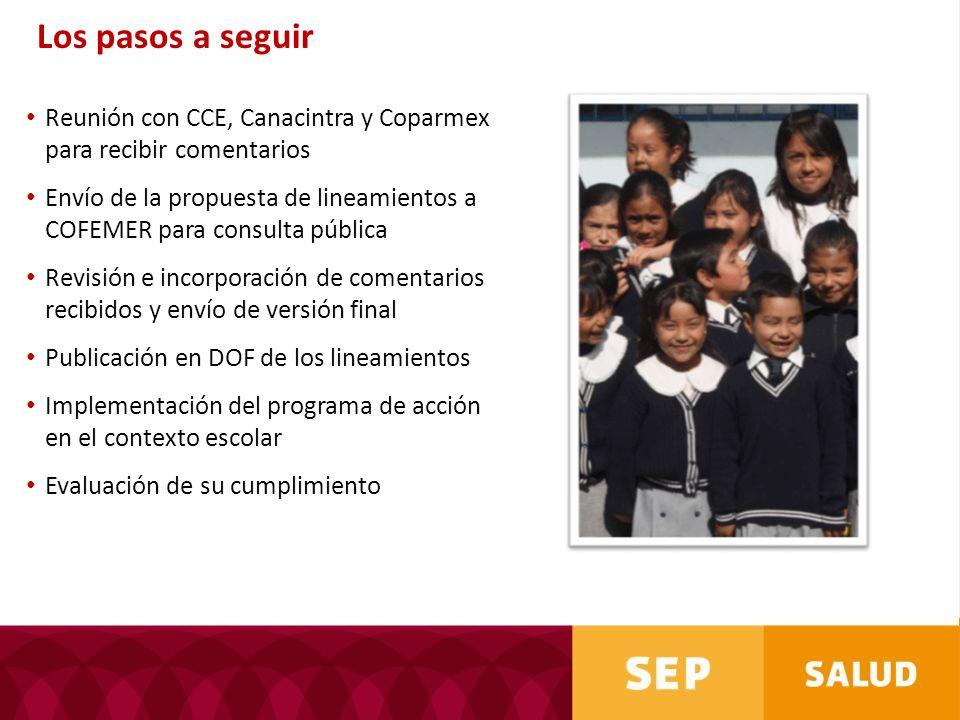 Los pasos a seguirReunión con CCE, Canacintra y Coparmex para recibir comentarios.