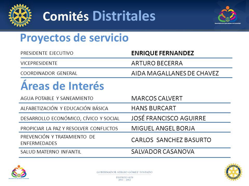Comités Distritales Proyectos de servicio Áreas de Interés