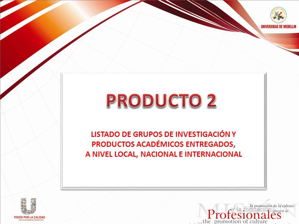 PRODUCTO 2 LISTADO DE GRUPOS DE INVESTIGACIÓN Y
