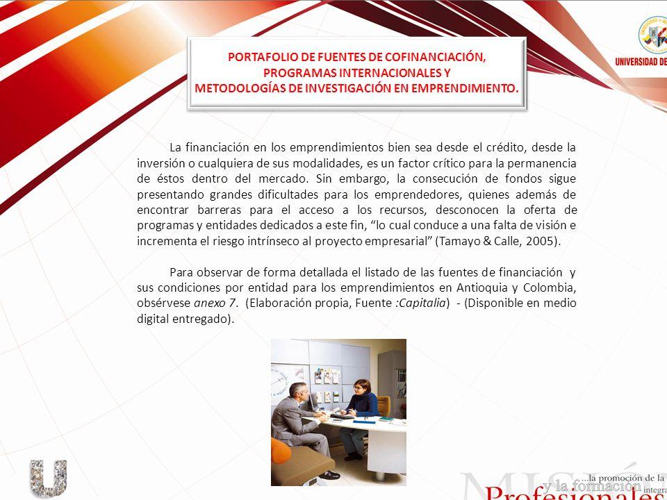 PORTAFOLIO DE FUENTES DE COFINANCIACIÓN, PROGRAMAS INTERNACIONALES Y
