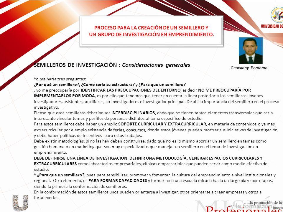 SEMILLEROS DE INVESTIGACIÓN : Consideraciones generales