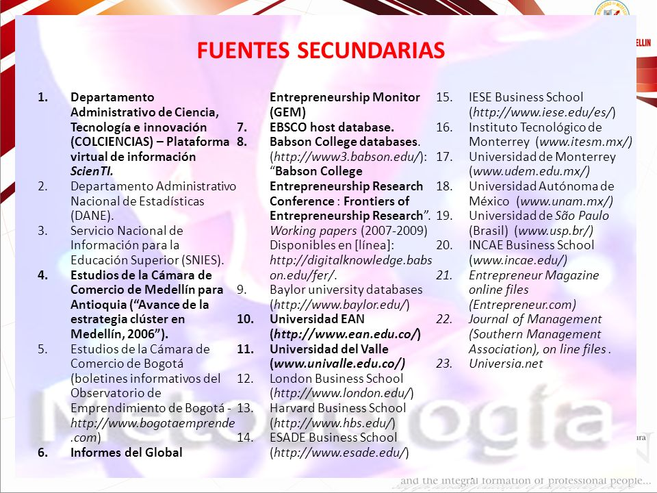 FUENTES SECUNDARIAS Informes del Global Entrepreneurship Monitor (GEM)
