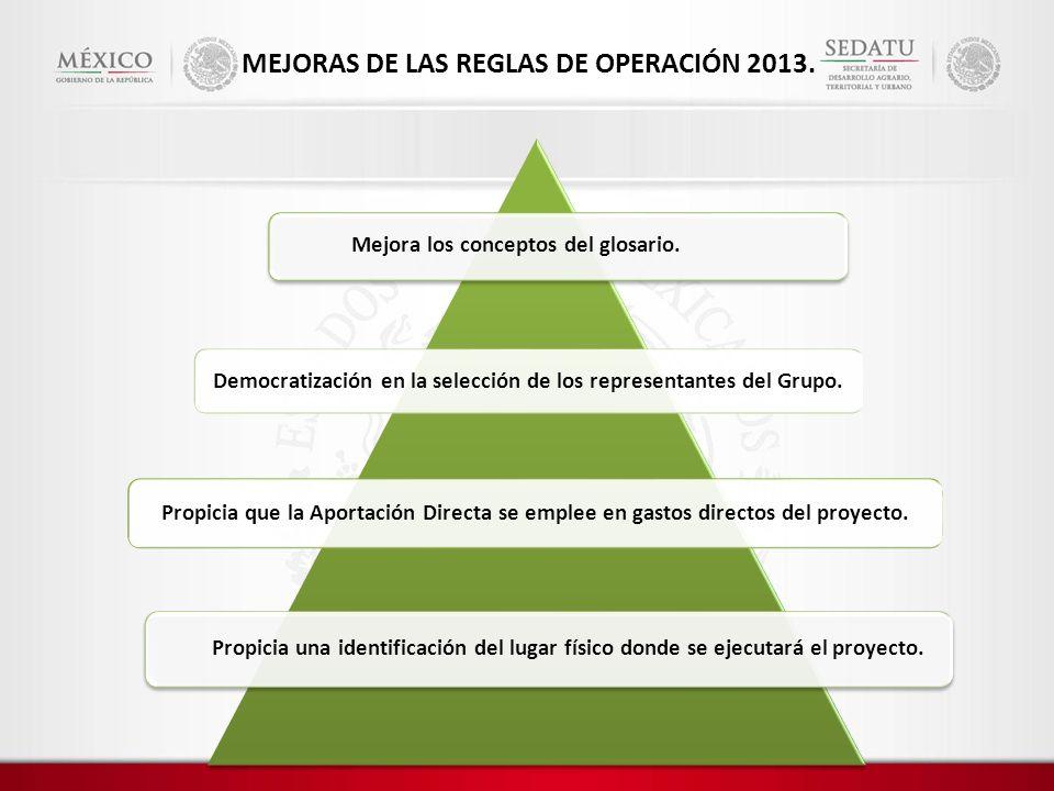 MEJORAS DE LAS REGLAS DE OPERACIÓN 2013.