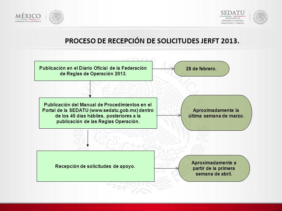 PROCESO DE RECEPCIÓN DE SOLICITUDES JERFT 2013.