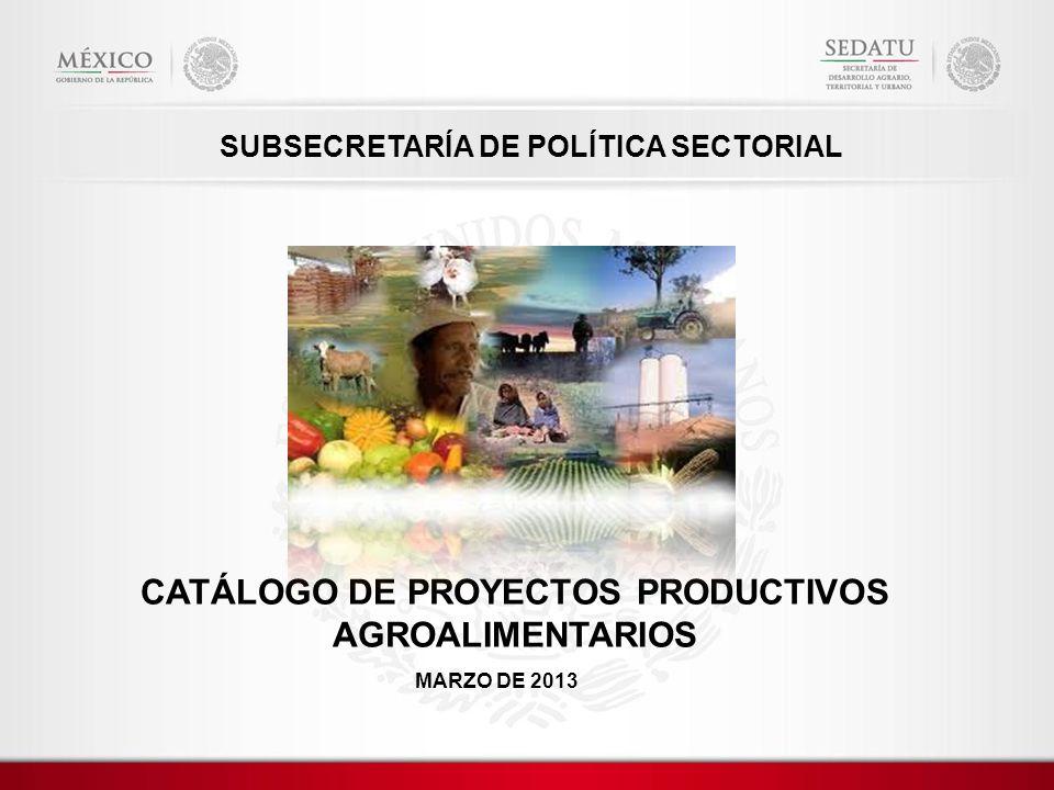 CATÁLOGO DE PROYECTOS PRODUCTIVOS AGROALIMENTARIOS