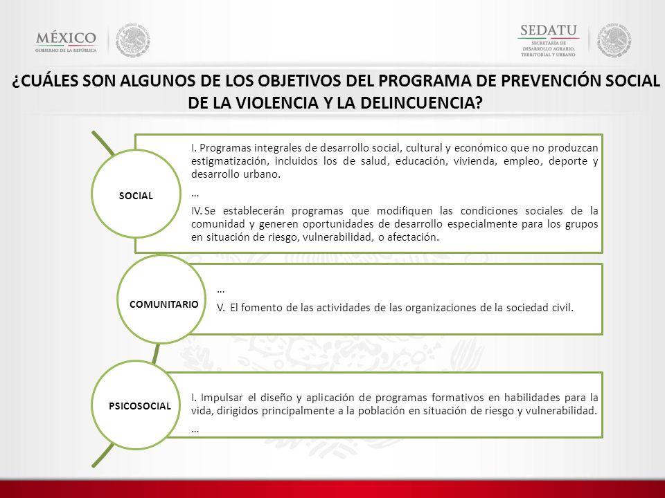 ¿CUÁLES SON ALGUNOS DE LOS OBJETIVOS DEL PROGRAMA DE PREVENCIÓN SOCIAL DE LA VIOLENCIA Y LA DELINCUENCIA