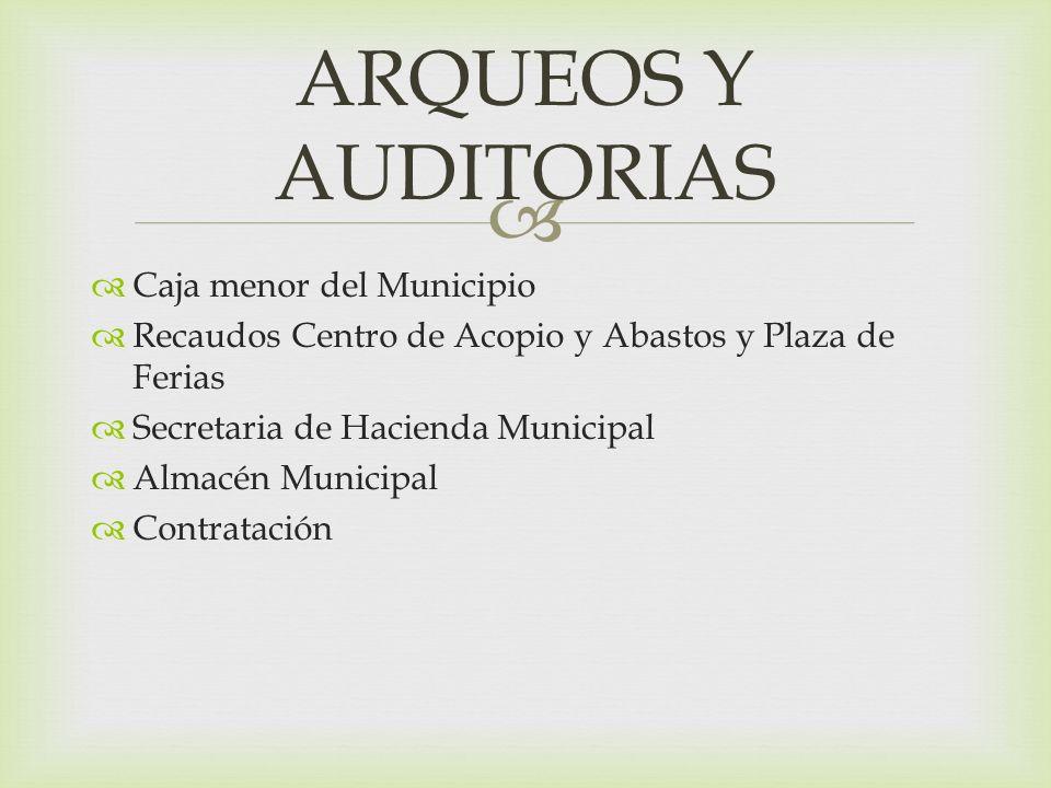 ARQUEOS Y AUDITORIAS Caja menor del Municipio