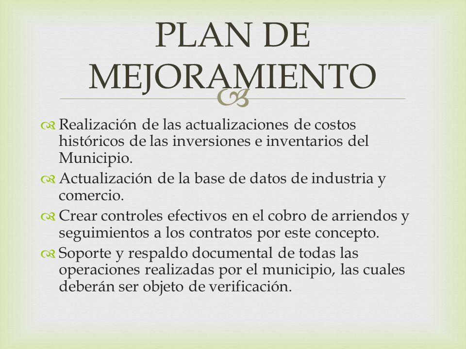 PLAN DE MEJORAMIENTO Realización de las actualizaciones de costos históricos de las inversiones e inventarios del Municipio.