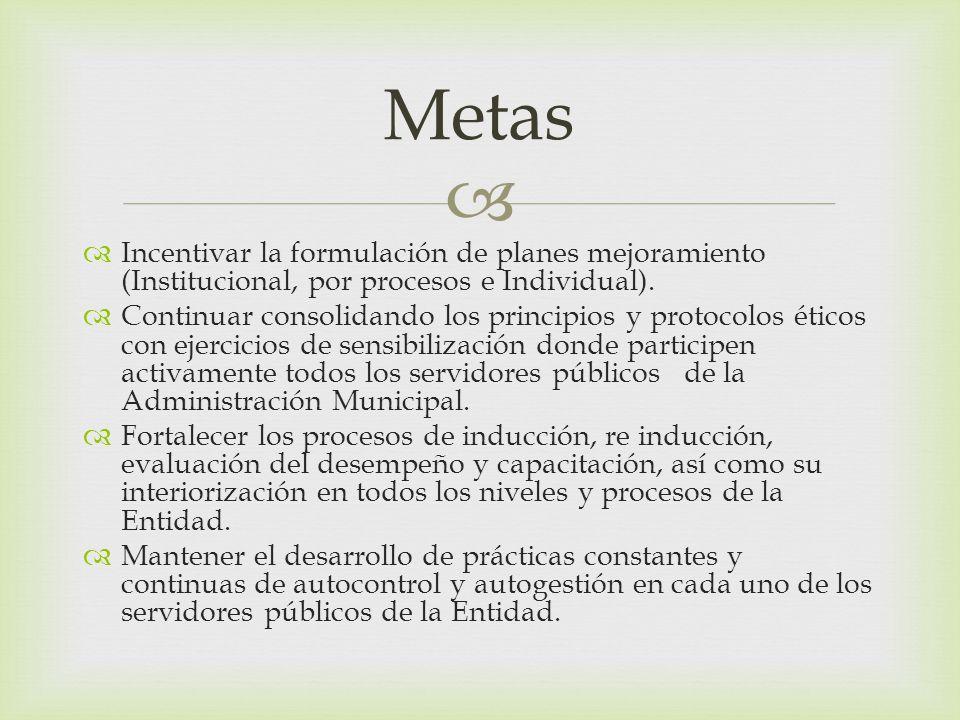 Metas Incentivar la formulación de planes mejoramiento (Institucional, por procesos e Individual).