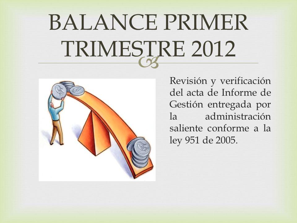 BALANCE PRIMER TRIMESTRE 2012