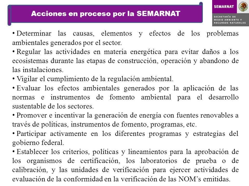Acciones en proceso por la SEMARNAT