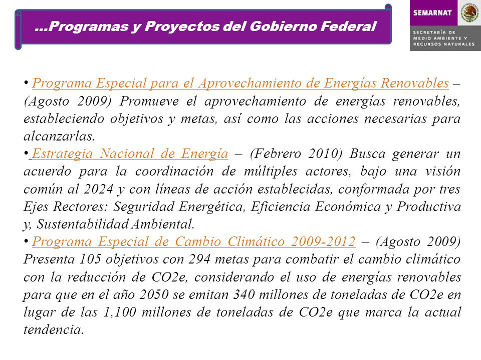 …Programas y Proyectos del Gobierno Federal