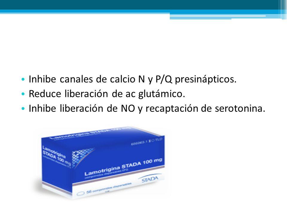 Inhibe canales de calcio N y P/Q presinápticos.