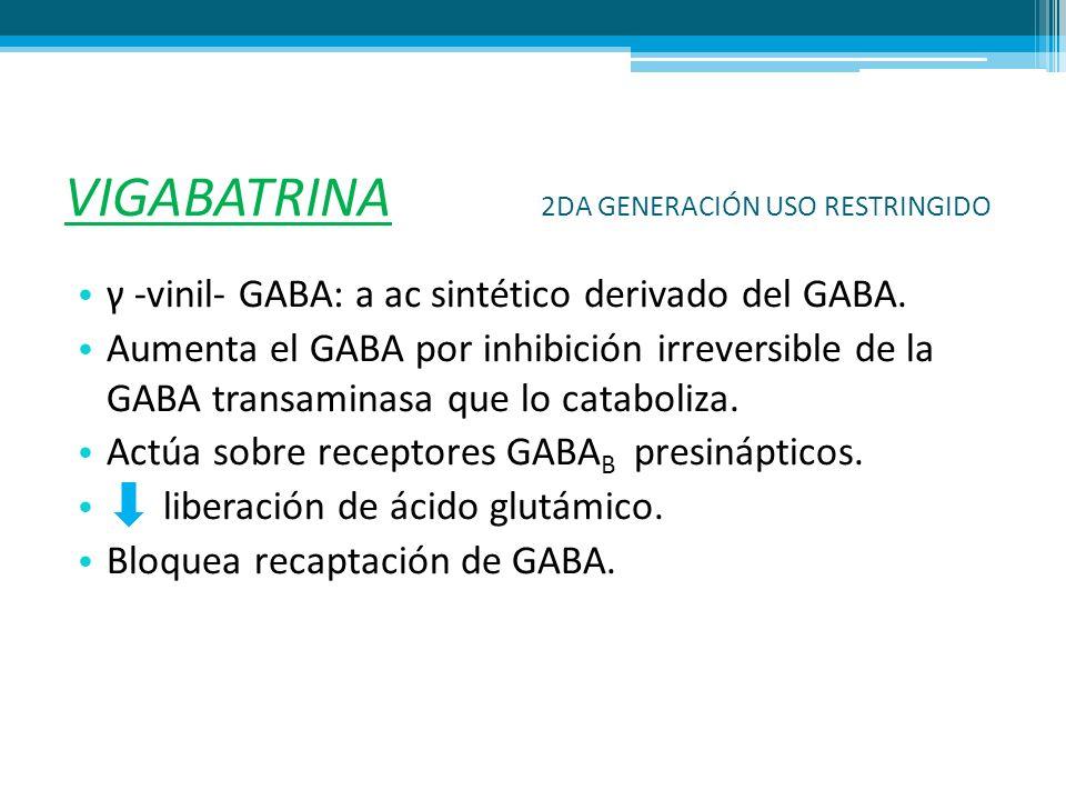 VIGABATRINA 2DA GENERACIÓN USO RESTRINGIDO